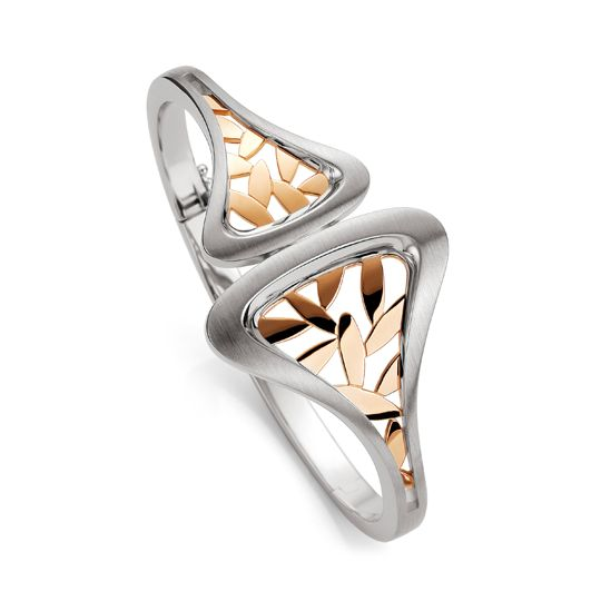 Rose gold leaves, housed in a sterling silver bangle