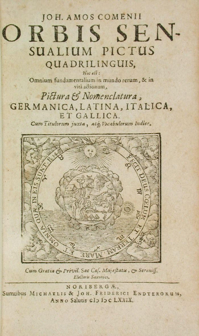 Orbis snesualium pictus, Michel & Johannes Friedrich Endter, 1679. Het boek geldt als het eerste informatieve boek voor kinderen en is bedoeld om Latijnse woorden te leren.