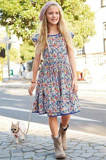 Kids Clothing Online - Kidswear and Clothes for Children - Next Blue Ditsy Dress (3-14yrs) - EziBuy Australia