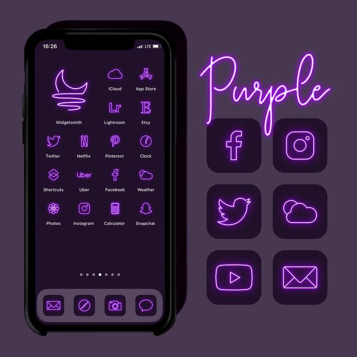 neon app icons purple
