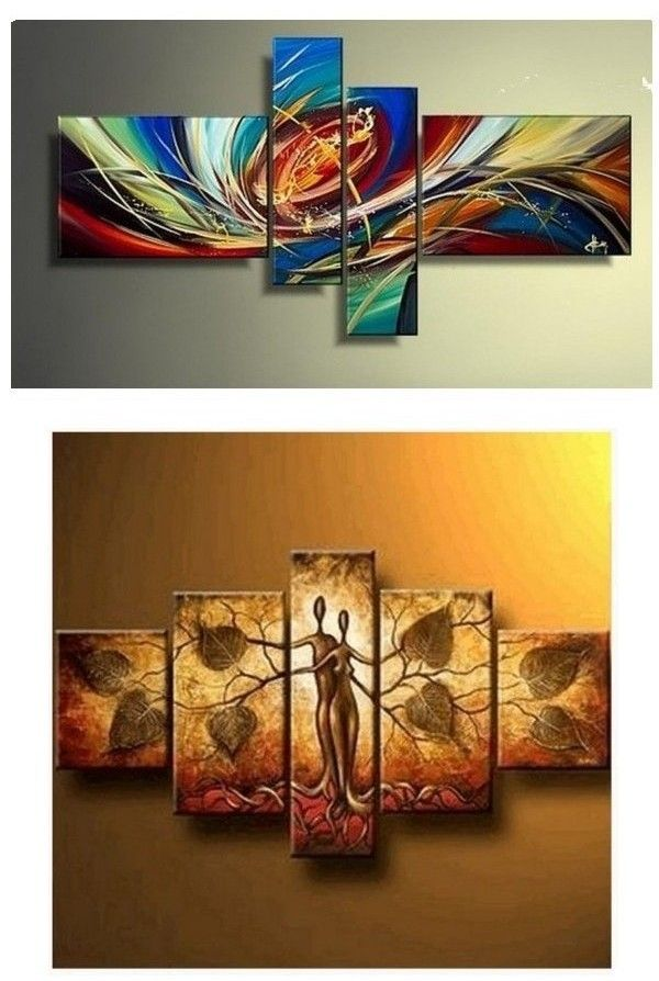 Colorful Lines Abstract Painting Wall Art Acrylic Art 4 Piece