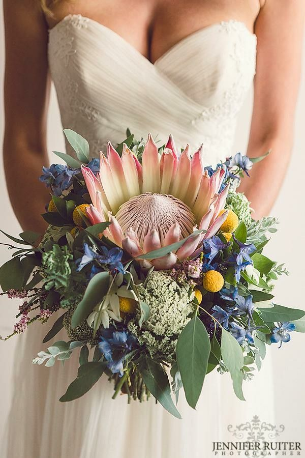 Protea and assorted summer blooms wedding flowers created by Lovely Bridal Blooms Photography Jennifer Ruiter