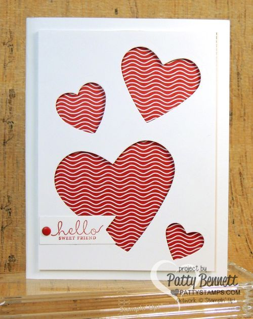Heart Framelit from Stampin' Up! make and EASY Valentine card! by Patty Bennett, www.PattyStamps.com