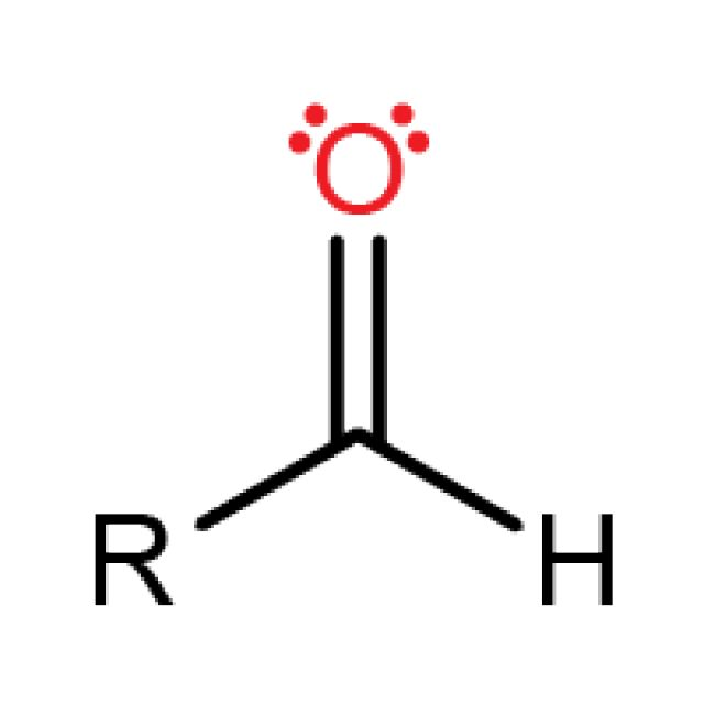 Aldehyde Functional Group Aldehydes are made up of carbon and oxygen double bonded together and hydrogen bonded to the carbon.  Aldehydes have formula R-CHO
