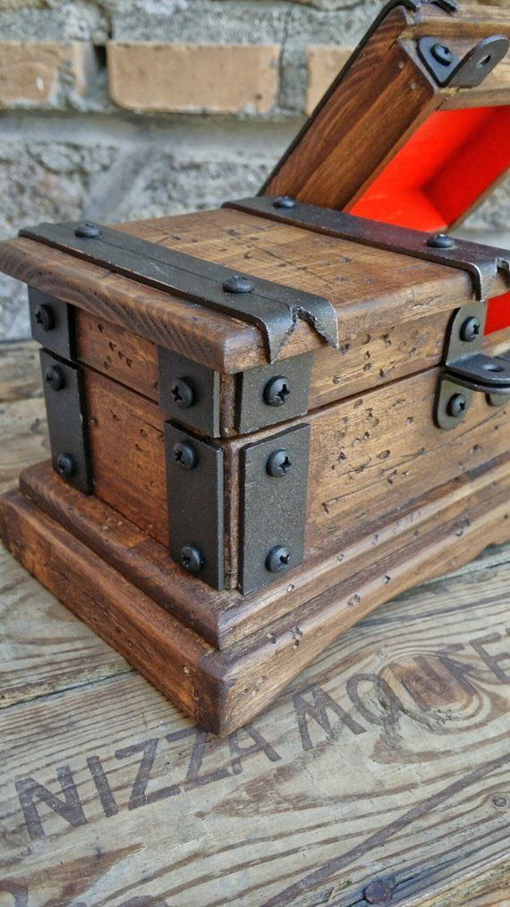 Rustic Wooden Jewelry Box Reclaimed Wood Treasure Chest Hand Etsy
