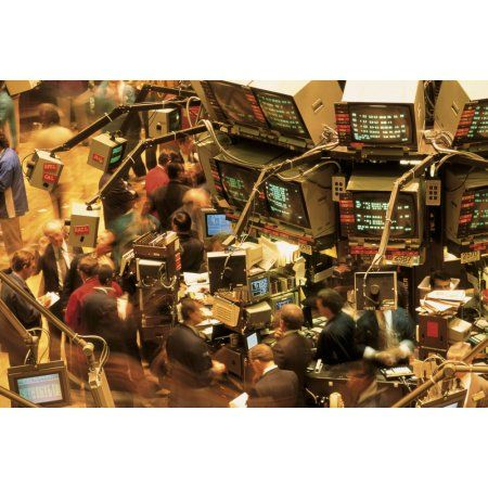 This is the interior of the New York Stock Exchange on Wall Street It shows traders looking at the monitors on the walls tracking the Dow Jones Canvas Art - Panoramic Images (36 x 12)