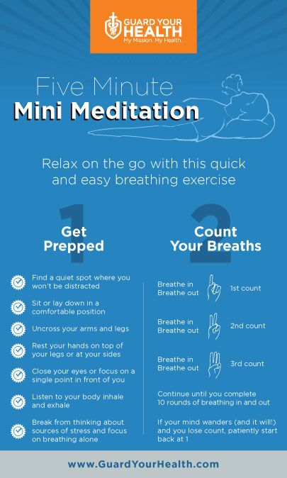 This How-To infographic illustrates a five-minute meditation technique to help you relax.