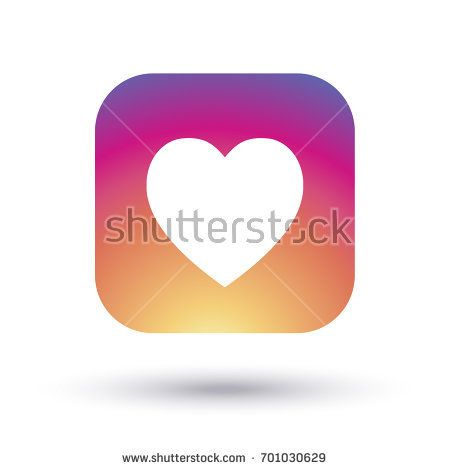 Heart icon multicolored, isolated on white background with shadow. Heart Logo sunset color gradient, love symbol. Vector button. Social media element design.
