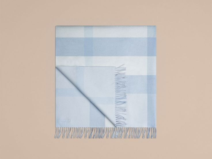Check Cashmere Baby Blanket in Ice Blue | Burberry - cell image 4