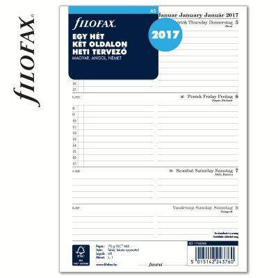 Filofax gyűrűs kalendárium Tervező, Heti 1 hét / 2 oldal Magyar (H-GB-D) A5 2017   Filofax Gyűrűs Kalendáriumok