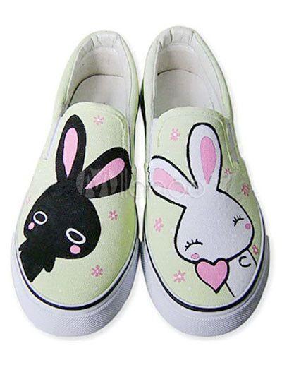Hübsche Handbemalte Schuhe mit verspielten Hasen-Mustern - Milanoo.com