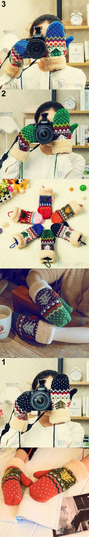 Bluelans Chrismas Tree Pattern Double Layer Knit Halter Mittens Warm Winter Gloves Women