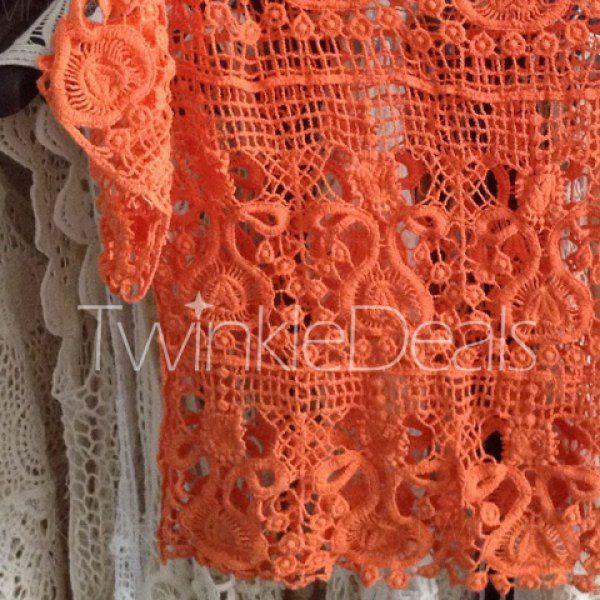Stylish Scoop Neck Crochet Flower Hollow Out Short Sleeve Women's Blouse