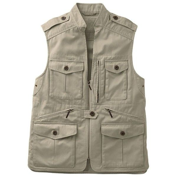 Men's Bush Poplin Safari Vest ($111) ❤ liked on Polyvore featuring men's fashion, men's clothing, men's outerwear, men's vests, khaki, mens khaki jacket outerwear, mens khaki vest, mens vest outerwear, mens vest and mens button sweater vest