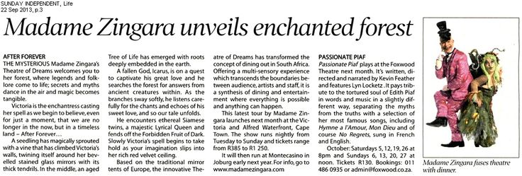 Life, Sunday Independent features our latest creation, After Forever- Madame Zingara fuses theatre with dinner....