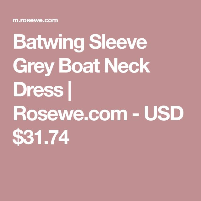 Batwing Sleeve Grey Boat Neck Dress | Rosewe.com - USD $31.74