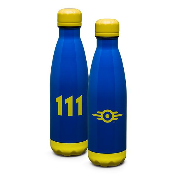 Each Fallout Vault 111 Stainless Water Bottle is in mint condition and comes to us direct from Vault-Tec. Each bottle holds 17 ounces, and will keep your water or adult beverage secure in the Wastes or your Fallout Shelter.