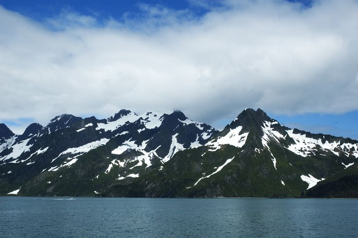 Prince William Sound outside Whittier, Alaska has incredibly beautiful mountain ranges and calm waterways.