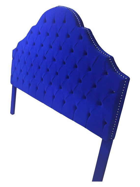 * * * This listing is for a CUSTOM headboard. * * *  Pictured headboard has sold however, we can make you another one just like it, same fabric, or any other color. Headboard in picture is a KING size headboard upholstered in a beautiful rich royal blue fabric. Fabric swatches available upon request. Headboard has a row of nickel nail heads around the perimeter and a nailhead in each tuft.  Headboard Measurements Width - 76 Height - 67 with legs  Comes with legs that are very easy to…