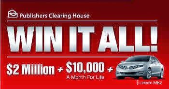 House of Sweepstakes: Win It All PCH Sweepstakes $2 Million Cash, $10,000 a Month for Life and a Lincoln Car MKZ