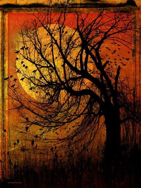 October Moon by Ron JonesHarvest Moon, Trees Art, Halloween Night, Autumn, October Moon, Beautiful, Fall, Ron Jones, Happy Halloween