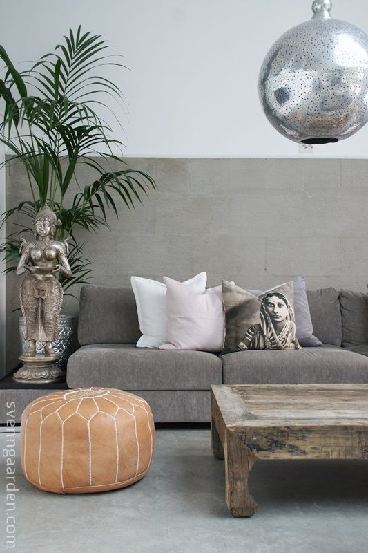 #SOFIHomewares: Example of how a couple of key items can help you achieve that instant Moorish look: the silver punch-metal pendant chandelier, the moroccan pouffe, a lush interior plant and of course the balanced colour tone of silver and white. http://interiorsoriginals.blogspot.nl/