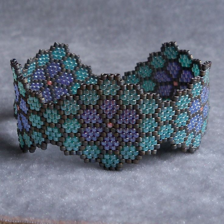 Flowers in Honeycomb Bracelet Green Purple and Blue