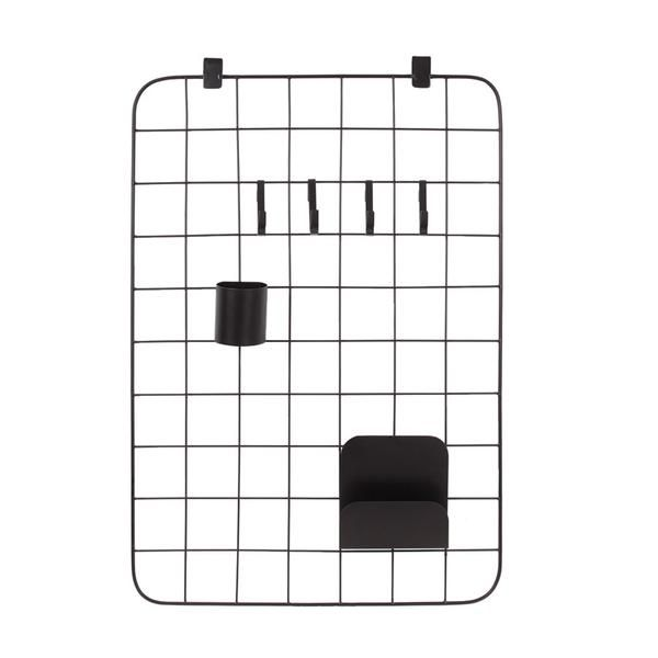 Organise your office, kids room or kitchen in style with this grid organiser. Comes complete with 4 S hooks, pen put and letter holder
