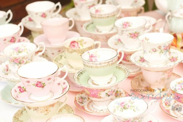 Shabby Vintage High Tea Bridal Shower | Love the mix of tea cups