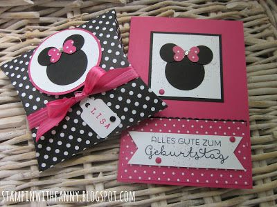 stampin with fanny: Zum Geburtstag im Minnie-Mouse-Style stampin up stampinwithfanny minnie mouse disney square pillowbox punch art landlust cottage greetings #stampinwithfanny