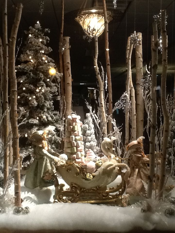 Snow Covered Forest Sleigh Ride Christmas Window Display