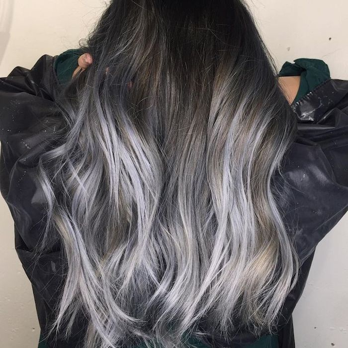 braune haare grau färben, ombre effekt, dunkelgraue haare mit hellgrauen spitzen