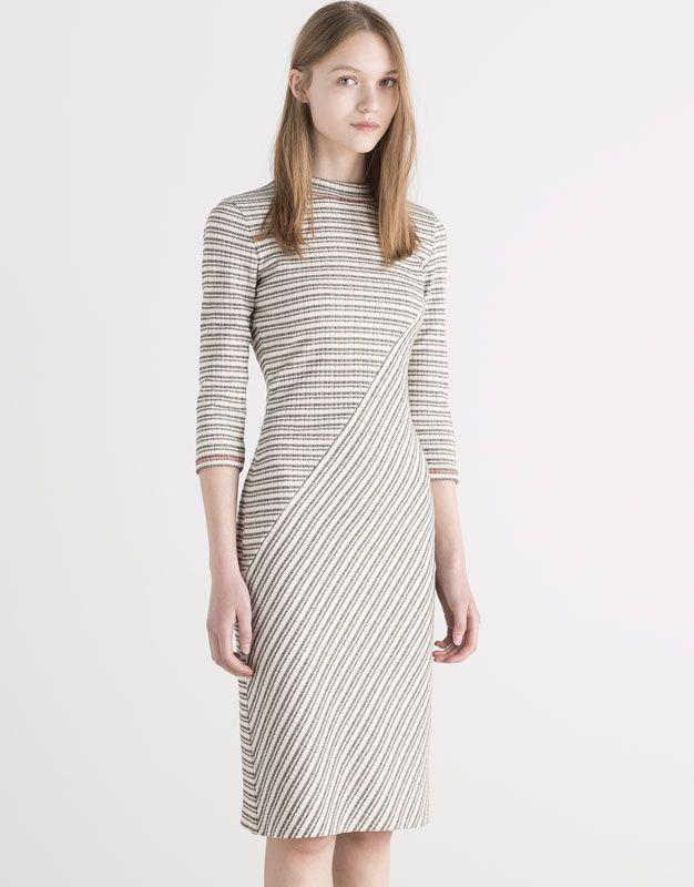 Pull&Bear - femme - robes - robe mi-longue imprimé à rayures - glace - 05390337-V2016