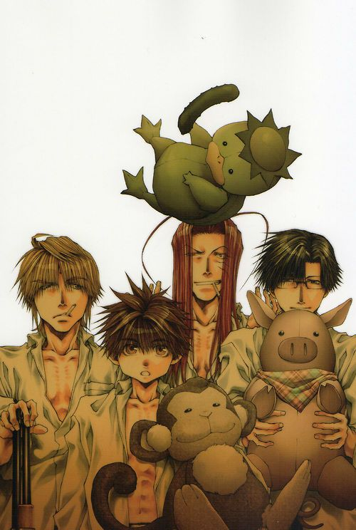 saiyuki | Aww, they have plushies of themselves! And Sanzo's all, wtf?? His plushie is a shotgun.