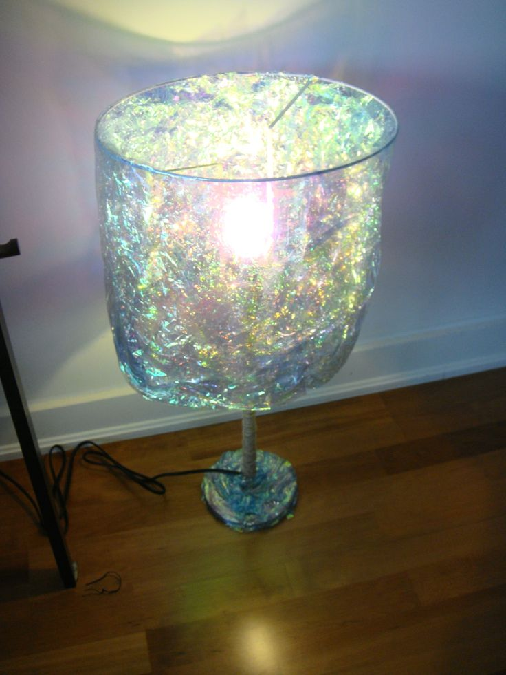 Table lamp with gift wrapped shade