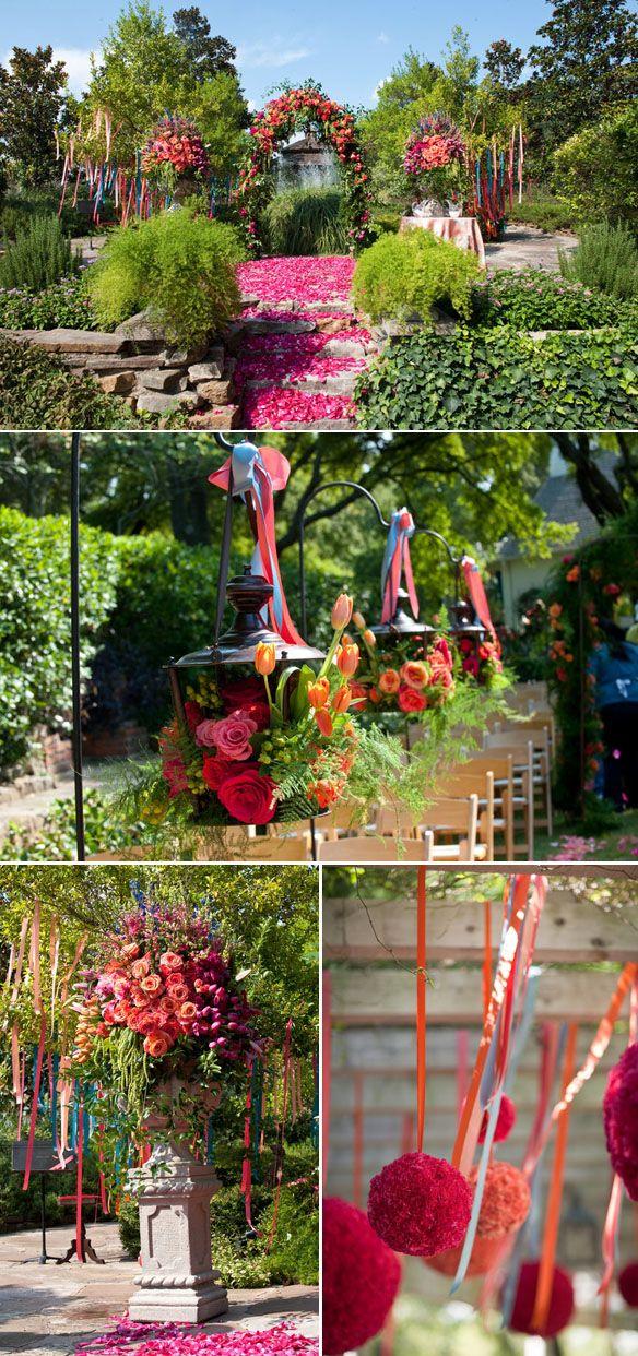 Colorful outdoor wedding