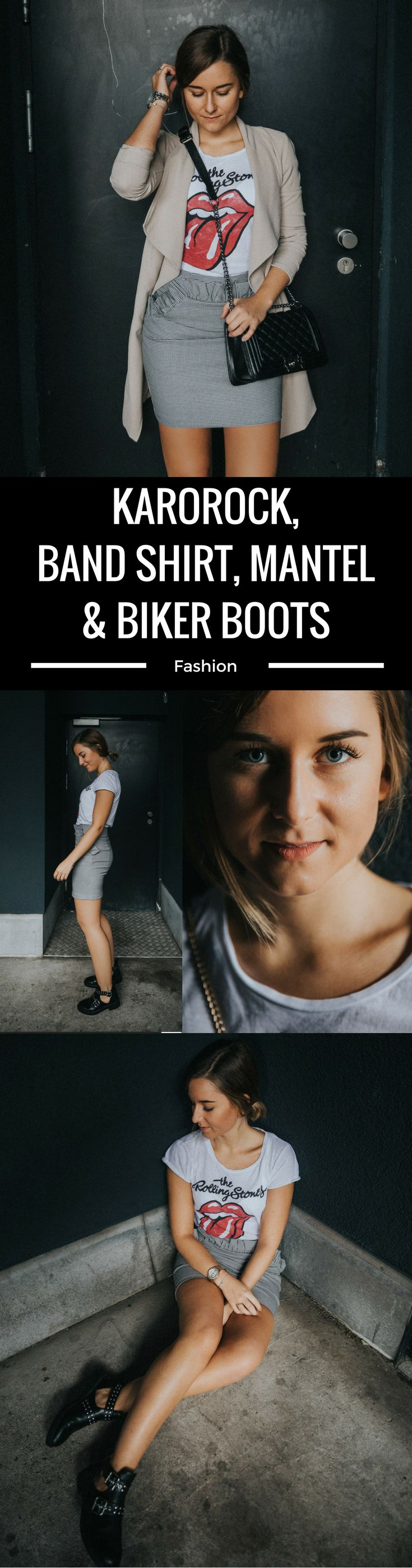 Karorock, Band Shirt, Mantel & Biker Boots kombinieren, schulterfrei, Übergangsschuh, Dress Italien Jesolo, Look, Outfit, Fashion Blog, Modeblog, Outfit Blog, Streetstyle, Outfit Blog, Modeblog, Fashion Blog, Fashion Blogger