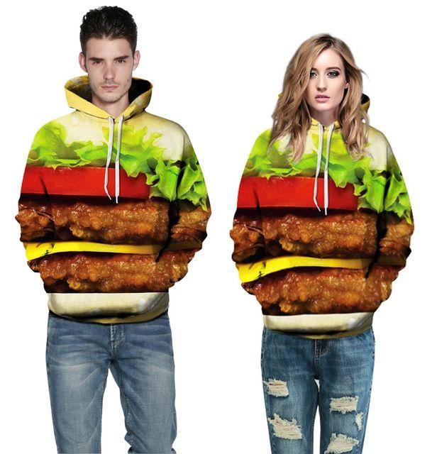 2015 Fashion women sweatshirts 2015 delicious Hamburger 3D print plus size warm MR MRS hooded hoodies spandex chandal mujer