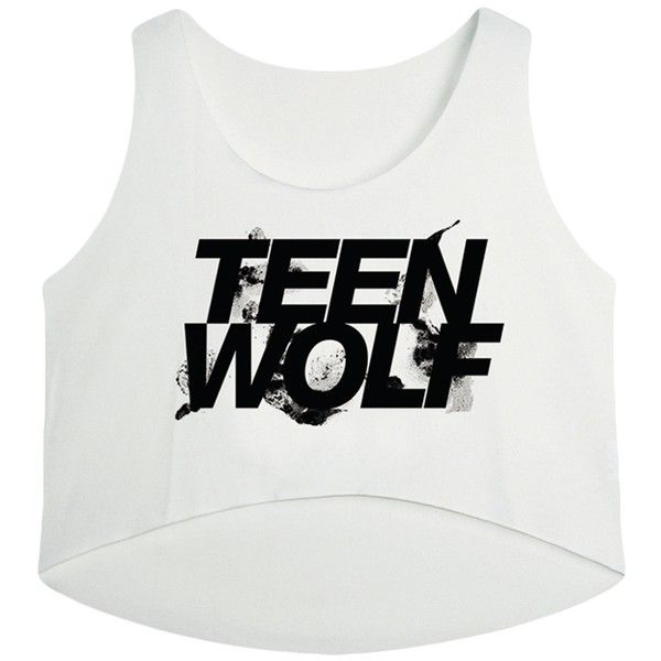 White Teen Wolf Printed High Low Casual Womens Crop Top (1.915 HUF) ❤ liked on Polyvore featuring tops, shirts, white, white shirt, crop top, white tops, white crop top и white crop shirt