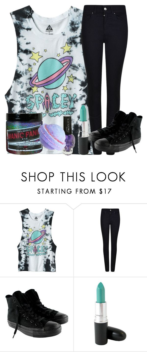 spacey by killjoy-sam ❤ liked on Polyvore featuring Armani Jeans, Converse, MAC Cosmetics, Hot Topic and Manic Panic NYC