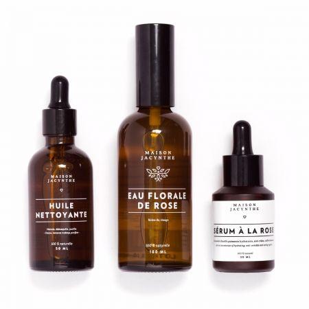 Trio essentiel femme – huile nettoyante, eau florale, sérum