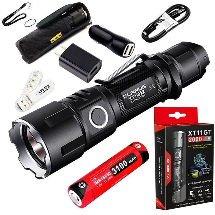 Klarus XT11GT 2000 Lumens CREE XPH35 HD E4 LED 18650 Tactical USB Rechargeable Flashlight with 1x 3100mah Battery with ,Car Charger,Wall Adaptor and SKYBEN USB Light (XT11GT)