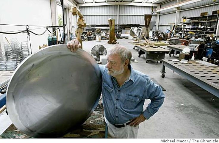 Sculptor, Bruce Beasley inside his Oakland, Calif., studio on July 9, 2008, with a work in progress that is using intersecting discs as a theme. Beasley has been commissioned and already installed a sculpture  at the Olympic Village in Beijing, China for next months games. Photo: Michael Macor, The Chronicle