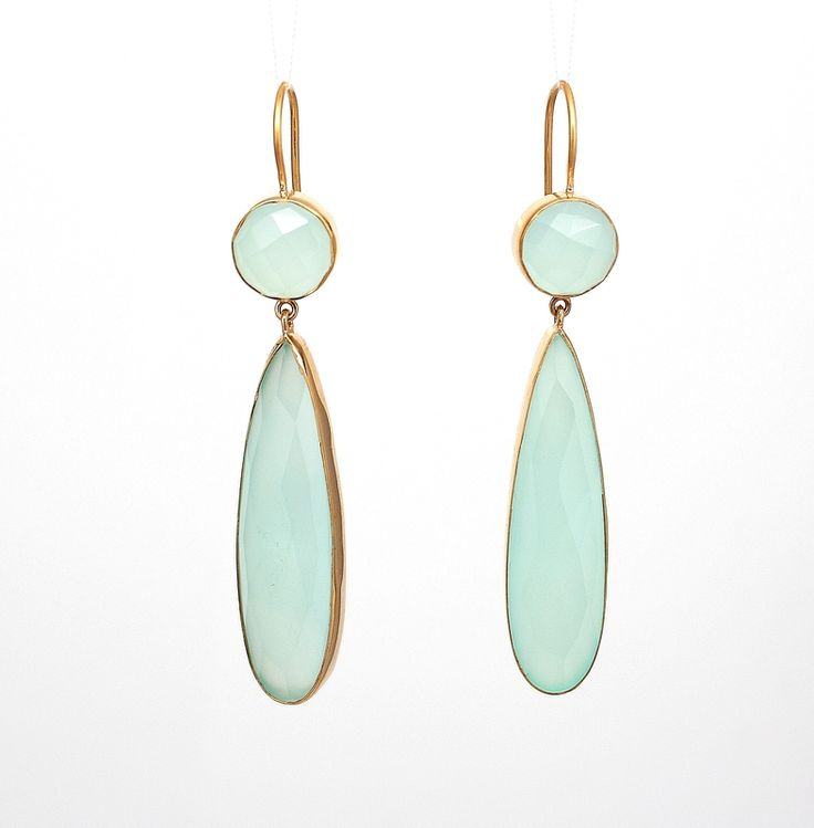 Elongated Gemstone Drop Earrings