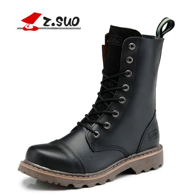We love it and we know you also love it as well Z.Suo Real Leather Men Military Boots Men's Motorcycle Riding Hunting Casual Walking Shoes Brad Designer Stylish High Top Flats  just only $51.91 with free shipping worldwide  #menshoes Plese click on picture to see our special price for you