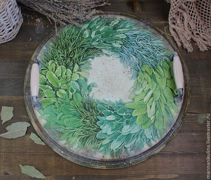 """Купить """"Травы Прованса""""  поднос - оливковый, зеленый цвет, поднос травы, травы прованса, прованс"""