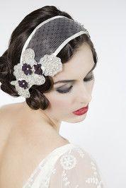 Gatsby style wedding headpiece www.butterfliesanddiamonds.com