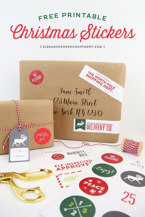 """Free Printable Christmas Stickers make holiday wrapping and packaging easy and fun! Simply download these free designs and print using Avery 2"""" round labels, Avery wrap-around labels, or your own paper! Designs from Elegance & Enchantment."""