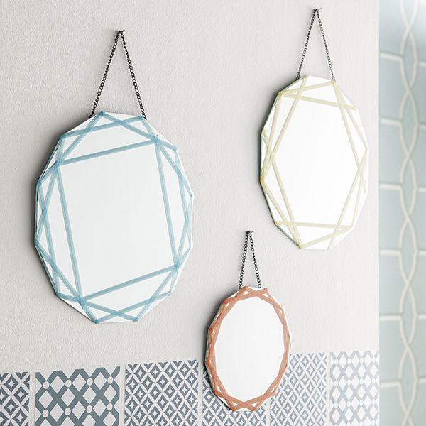 Miroirs décorés au masking tape DIY - Idées déco