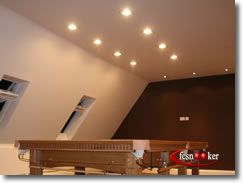 Fcsnooker - Examples of fcsnooker's customer's snooker and pool table lighting solutions mounted above table products